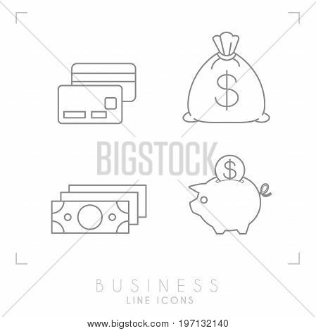 Set of line thin business and financial icons. paid cards cash piggy bank and sack with coins.