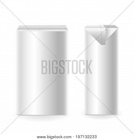 Mock up of milk or juice box on white background. Realistic carton one liter package.