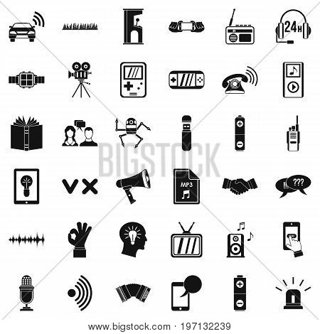 Stereo music icons set. Simple style of 36 stereo music vector icons for web isolated on white background