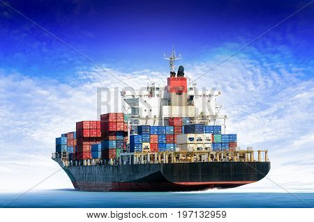 Cargo ship in the ocean with blue sky Freight Transportation.