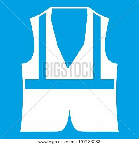 Vest icon white isolated on blue background vector illustration