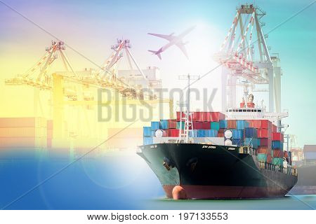 Logistics and transportation Container Cargo ship and Cargo plane with working crane bridge in shipyard background logistic import export background and transport industry.