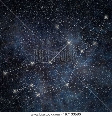 Virgo Constellation. Zodiac Sign Virgo Constellation Lines Galaxy Background