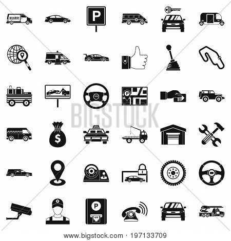 Venicle icons set. Simple style of 36 venicle vector icons for web isolated on white background