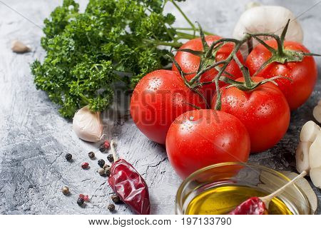 Cherry Tomatoes On A Branch, Oil,  Parsley And Spice