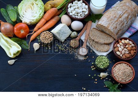 Balanced Diet, Cooking, Dieting, Culinary And Food Concept. Different Foodstuffs - Whole Grain Bread