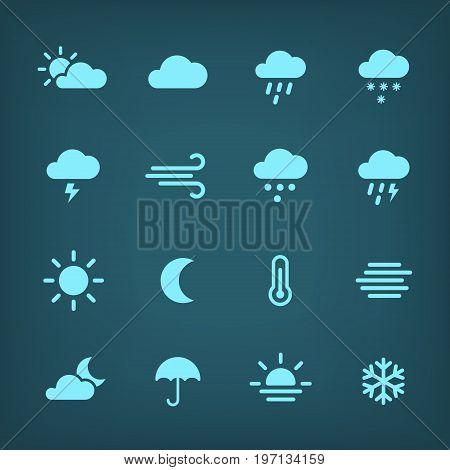 Blue weather forcast Icon set. Flat vector symbols.