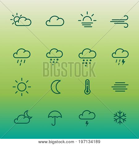 Lines weather forcast Icon set on green gradient. Simple vector symbols for internet or print.