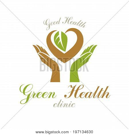Caring hands holding heart vector graphic symbol. Homeopathy creative logo. Charity and volunteer concept.