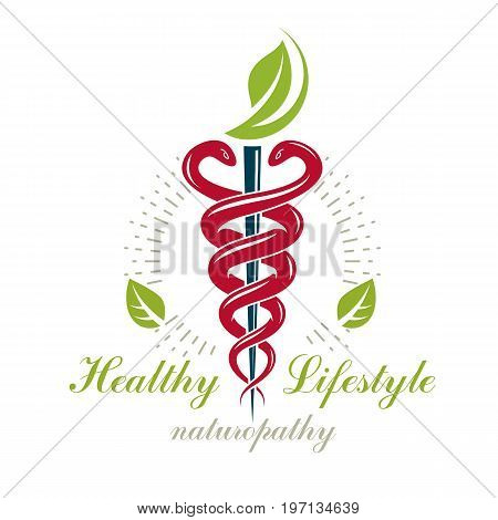 Caduceus symbol healthcare conceptual vector logo. Homeopathy creative emblem.