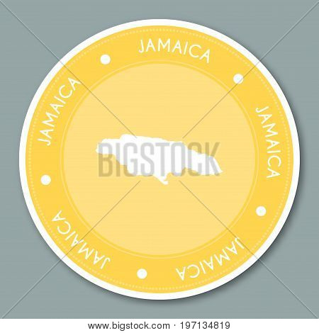 Jamaica Label Flat Sticker Design. Patriotic Country Map Round Lable. Country Sticker Vector Illustr