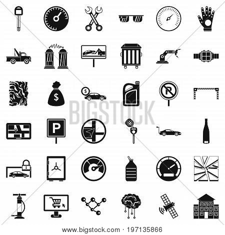 Repairing car icons set. Simple style of 36 repairing car vector icons for web isolated on white background