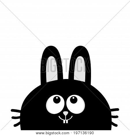 Black rabbit bunny face head silhouette looking up. Long ear. Cute cartoon animal character. Baby card. Sticker print template. Flat design. White background. Isolated. Vector