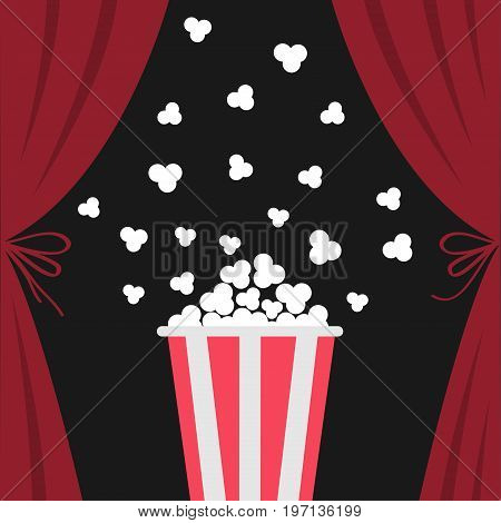Popcorn box popping. Open luxury red silk stage theatre curtain. Velvet scarlet curtains with bow. Fast food. Flat design. Movie cinema premiere icon. Template. White background. Vector illustration