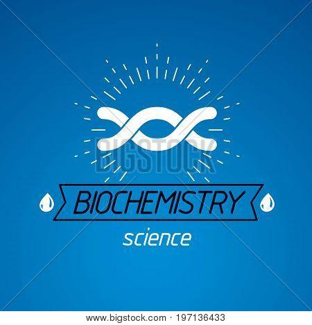 Vector model of human DNA double helix. Bioengineering and genetics conceptual vector logo laboratory research symbol.