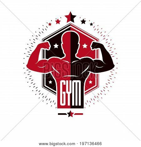 Sport logo for weightlifting gym and fitness club retro style vector emblem. With sportsman silhouette.