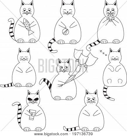 Vector set of eight funny, fat and white cats.
