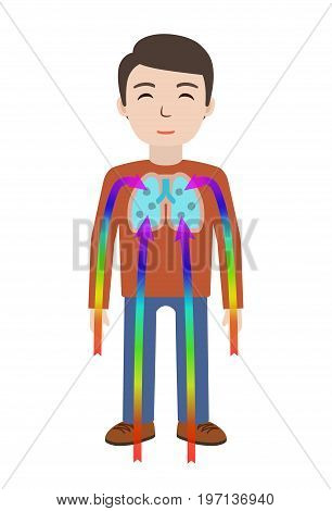 Energetic healing. Man heal himself with energy field. Pranic healing. Alternative medicine concept. Vector illustration.