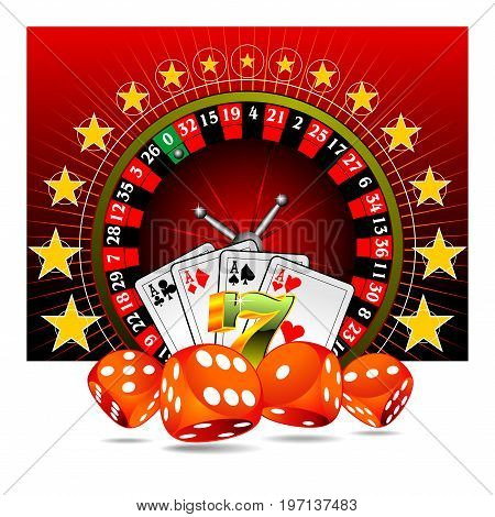 gambling background with casino elements  on red background