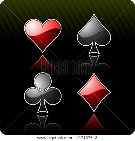 gambling illustration with casino elements  on dark green background
