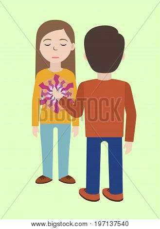 Energetic healing. Pranic healing. Alternative medicine concept. Man heals woman with energy field. Aura healing. Vector illustration.