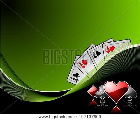 vector gambling background with casino elements  on dark green background