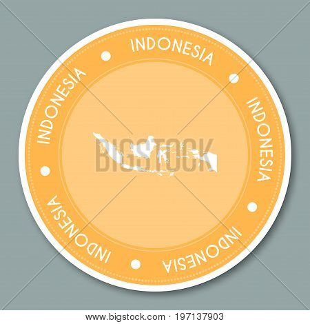 Indonesia Label Flat Sticker Design. Patriotic Country Map Round Lable. Country Sticker Vector Illus