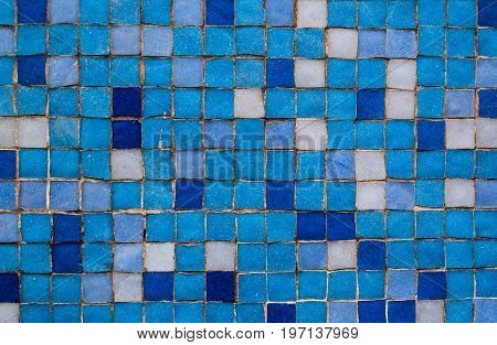 Blue Mosaic Tiles background and texture for graphic design.