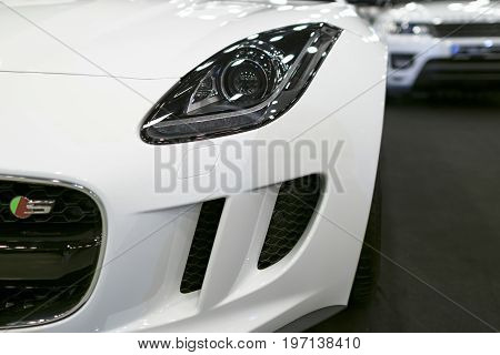 Sankt-Petersburg Russia July 21 2017: Front view of headlight Jaguar F-Type coupe S 2017. Car exterior details. Photo Taken on Royal Auto Show July 21