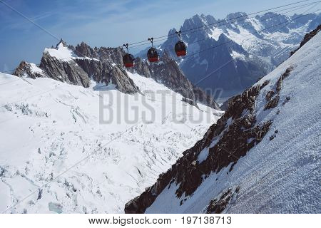 Mont blanc is the highest mountain of historic europe m altitude. Cable cars.