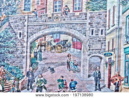 Quebec City, Canada - May 30, 2017: Lower Old Town Street With Parc De La Cetiere And Mural Fresco C