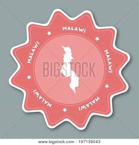Malawi Map Sticker In Trendy Colors. Star Shaped Travel Sticker With Country Name And Map. Can Be Us