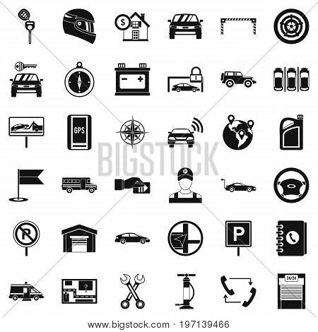 Auto garage icons set. Simple style of 36 auto garage vector icons for web isolated on white background