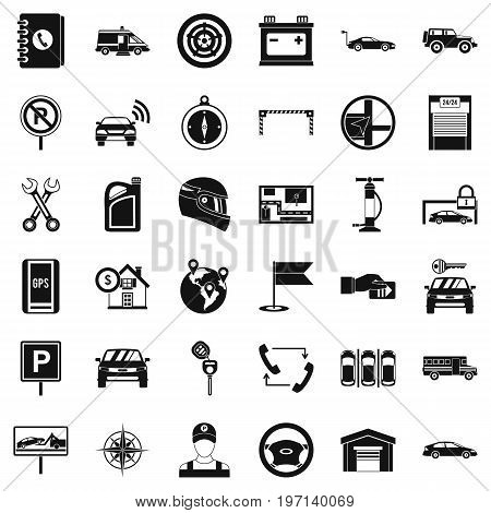 Garage for car icons set. Simple style of 36 garage for car vector icons for web isolated on white background