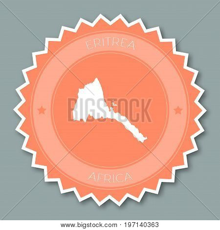 Eritrea Badge Flat Design. Round Flat Style Sticker Of Trendy Colors With Country Map And Name. Coun