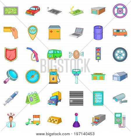 Mechanic auto icons set. Cartoon style of 36 mechanic auto vector icons for web isolated on white background