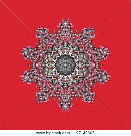 Isolated watercolor snowflakes on colorful background. Symbol of winter. Beautiful decoration. Vector illustration with isolated snowflake.