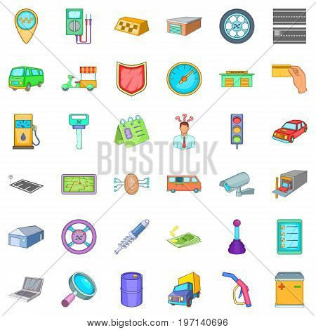 Parking auto icons set. Cartoon style of 36 parking auto vector icons for web isolated on white background