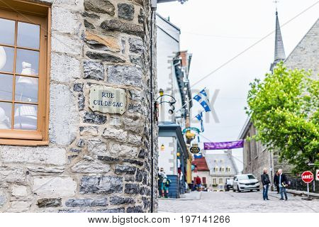 Quebec City, Canada - May 30, 2017: Lower Old Town Street With Closeup Of Rue Cul-de-sac Sign