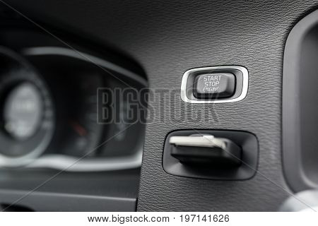 Close-up On Automatic Starter, Start Stop Engine Button