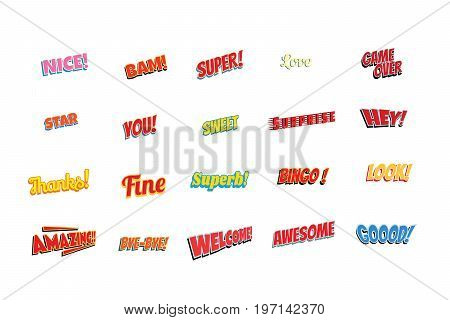 cartoon words label set isolated on a white background. nice bam super love game over star you sweet surprise hey thanks fine superb bingo look amazing bye welcome awesome good. Pop art retro vector illustration