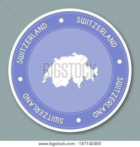 Switzerland Label Flat Sticker Design. Patriotic Country Map Round Lable. Country Sticker Vector Ill