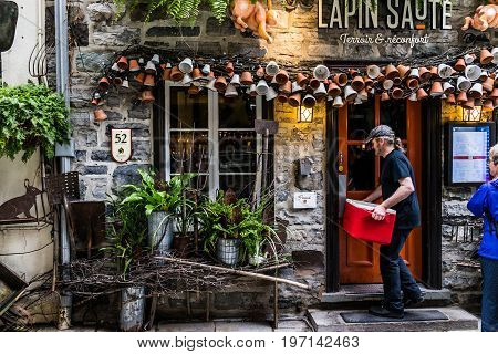 Quebec City, Canada - May 30, 2017: Lower Old Town Street Called Rue Du Petit Champlain With Lapin S