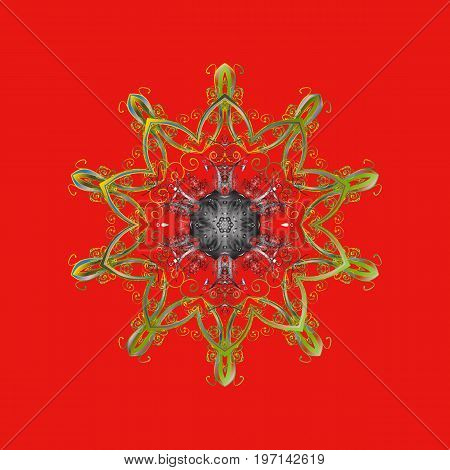 Vector illustration. Snowflake colorful pattern. Flat design with abstract snowflakes isolated on colors background. Snowflakes pattern. Vector snowflakes background.