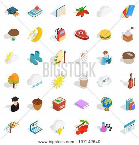 Cold season icons set. Isometric style of 36 cold season vector icons for web isolated on white background
