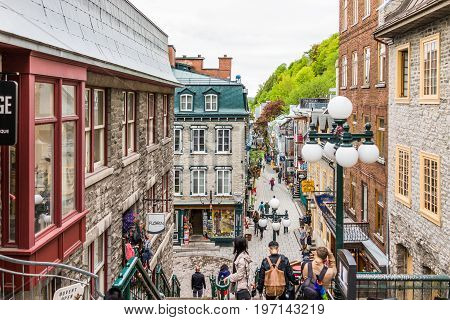 Quebec City, Canada - May 30, 2017: Lower Old Town Streets Called Rue Du Petit Champlain And Sous Fo