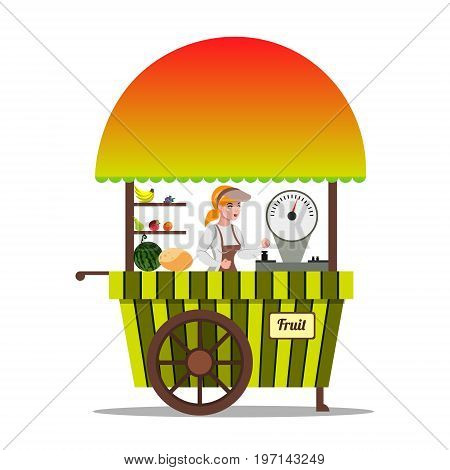 Local market farmer selling fruits in his stall. vector illustration isolated