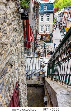 Quebec City, Canada - May 30, 2017: Closeup Of Stairs Or Steps To Lower Old Town Street Called Rue D