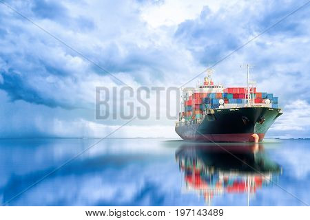 International Container Cargo ship in the ocean Freight Transportation Shipping Nautical Vessel