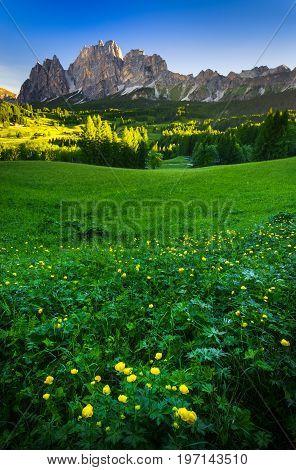Mountain peak at sunrise Dolomites Alps Italy